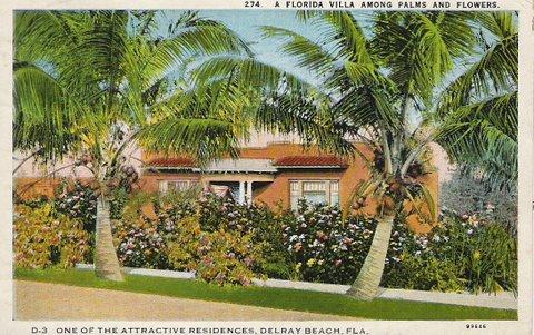 Delray Beach Florida Villa Postcard