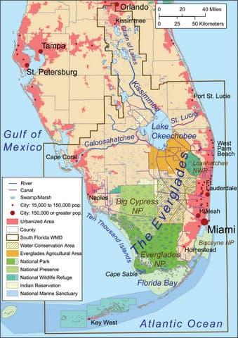 Map of Florida Everglades