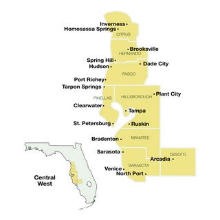 Central West Florida Travel Guide Map