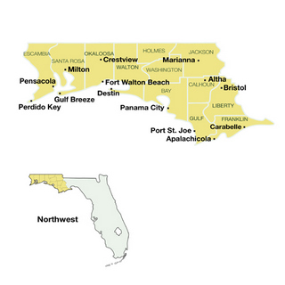 Map Of 12 Northwest Florida Counties