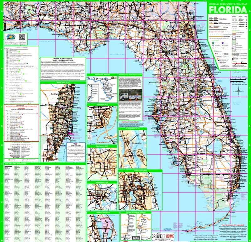 FDOT Map With Florida City Insets