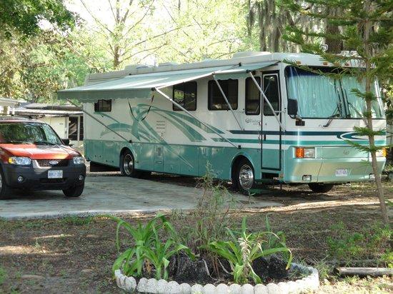 RV Site at Holiday Travel Resort near Leesburg, Florida.