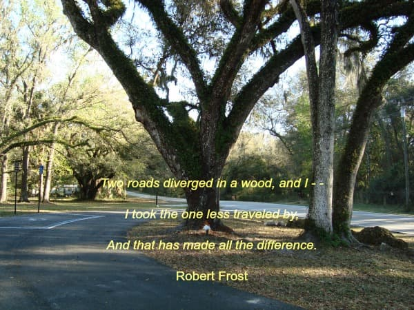 Robert Frost Quotation About Taking the Road Less Traveled