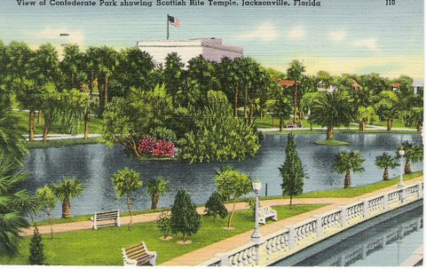 Jacksonville Confederate Park Vintage Postcard