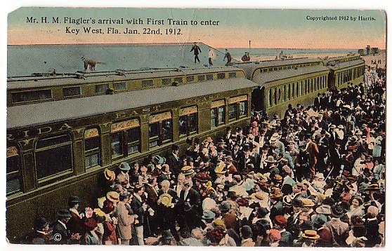 Flagler Arrives in Key West 1912 Vintage Postcard