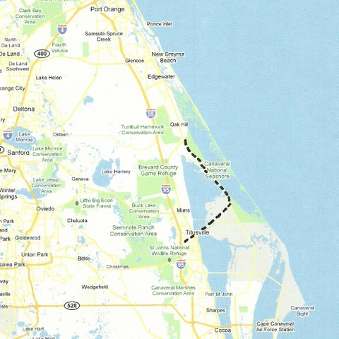 Oak Hill to Titusville via KSC