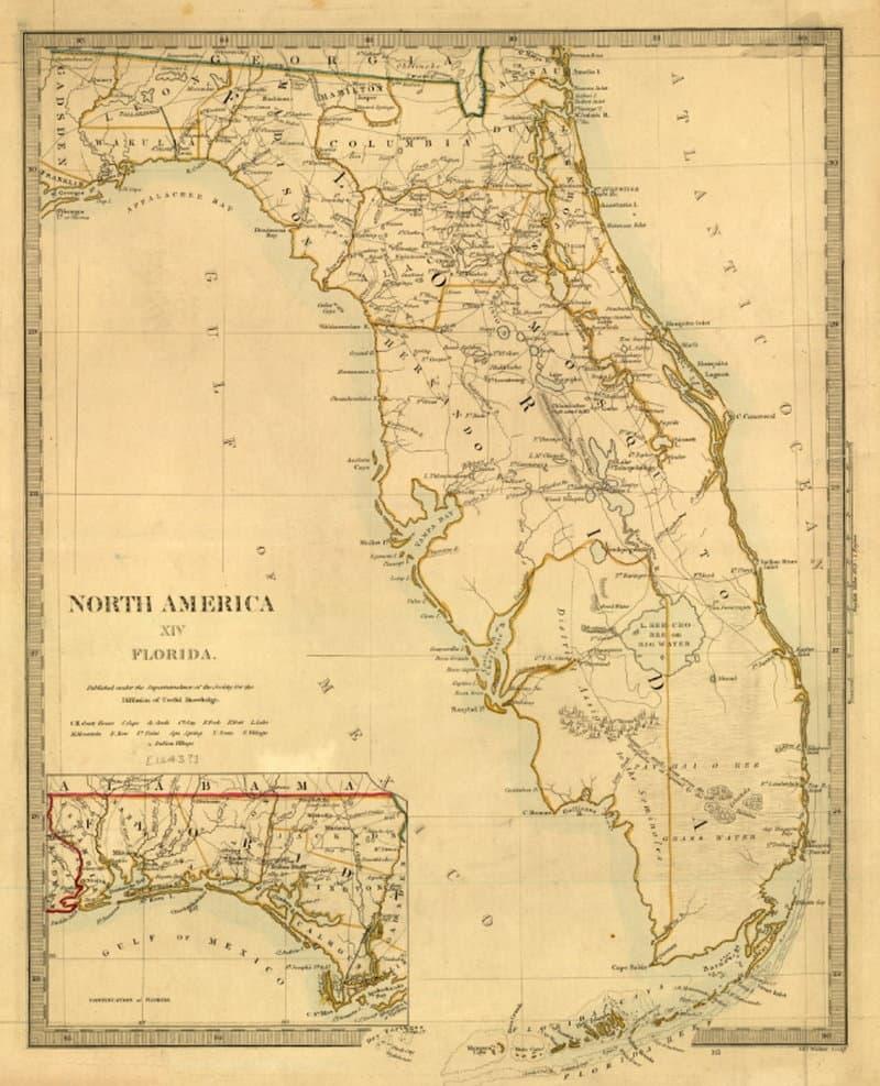 Tanner's Florida Map 1833 - Florida Memory