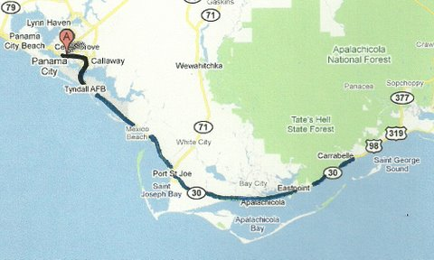 Map NC002 Panama City to Carabelle