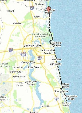 Map NE001 Fernandina to St Augustine