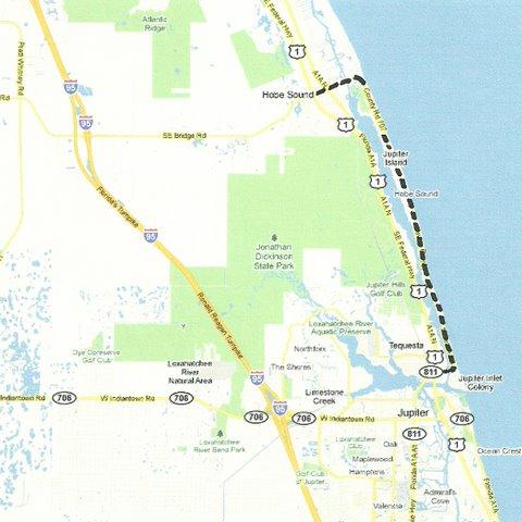 Map SE001 Hobe Sound to Jupiter Inlet