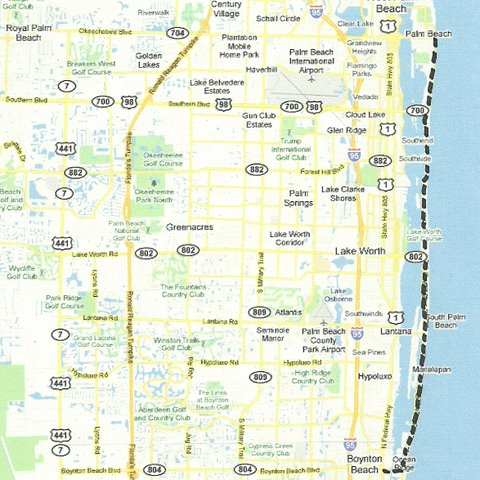 Map SE004 Palm Beach to Boynton Beach