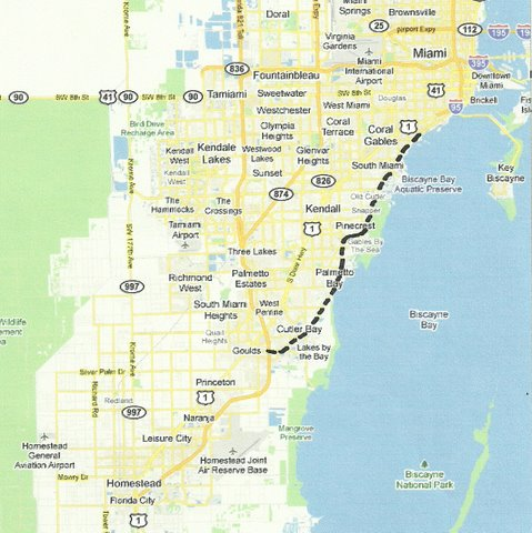 Map SE006 Coconut Grove to Goulds