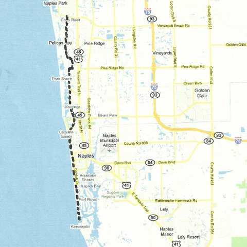 Map SW006 Vanderbilt Beach to Gordon Pass
