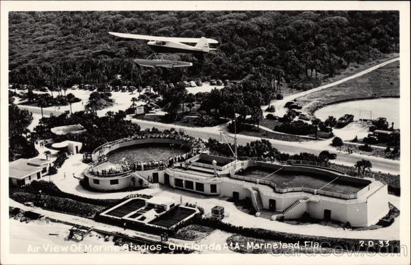 Vintage postcard showing aerial of Marineland in 1946