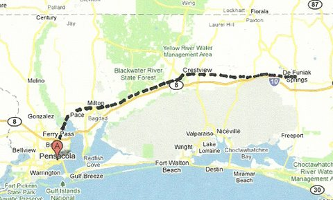 Map NW001 Pensacola to DeFuniak Springs