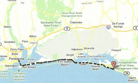 Map NW003 Grayton Beach to Pensacola