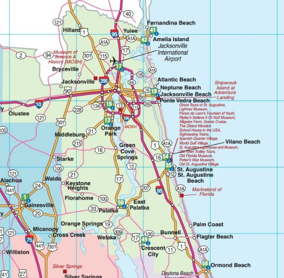 Northeast Florida Road Map