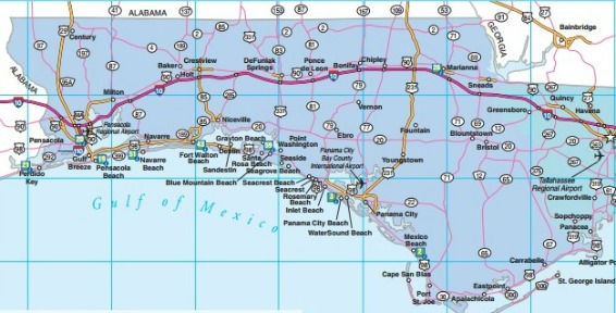 Northwest Florida Road Map