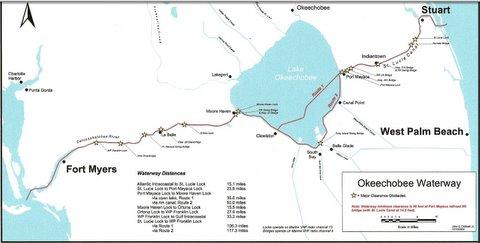 Map of Okeechobee Waterway Florida
