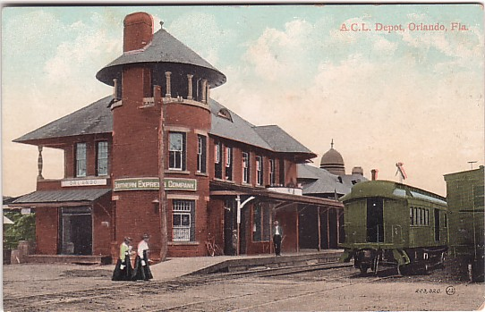 Vintage Postcard Orlando, Florida Atlantic Coast Line Railroad Depot