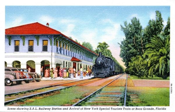 Old Train Station Postcard in Boca Grande Florida