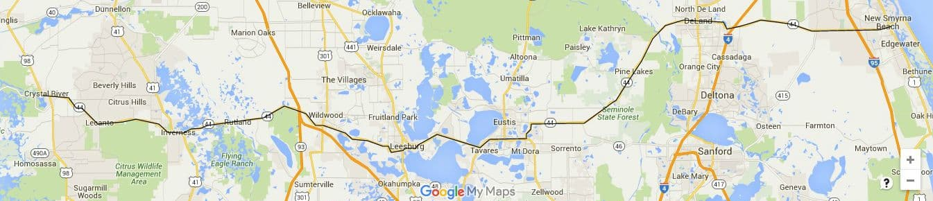 State Road 44 runs across the state from Crystal River to New Smyrna Beach.