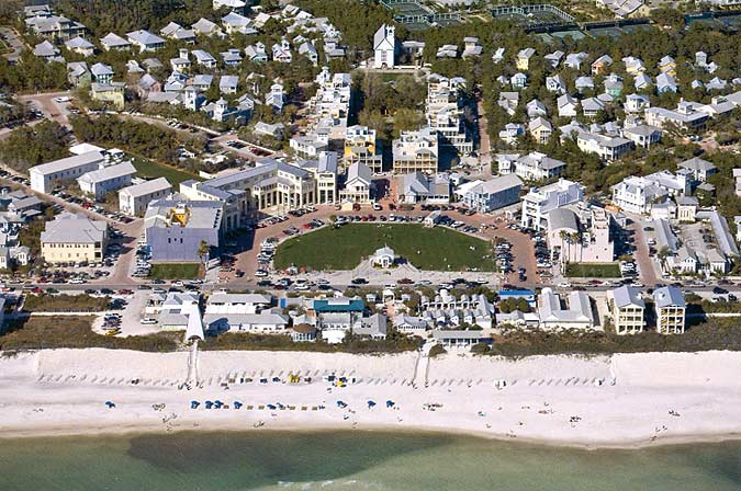 Birds Eye View of Seaside from the Gulf of Mexico