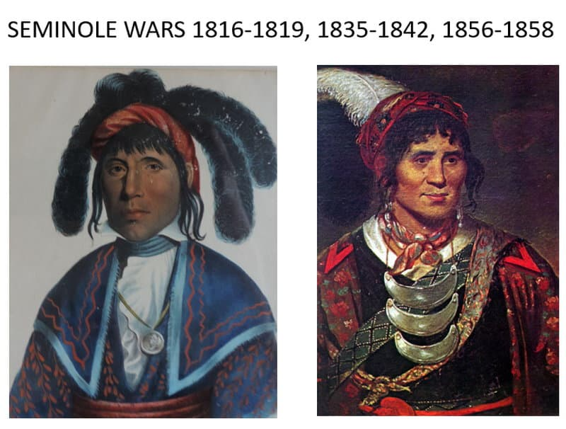 Chief Micanopy on the left and Osceola on the right