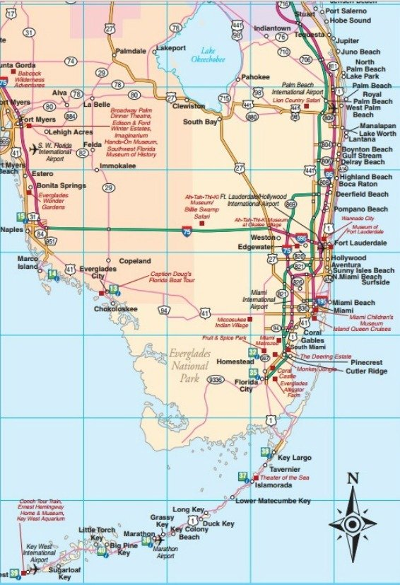 Southeast Florida Road Map