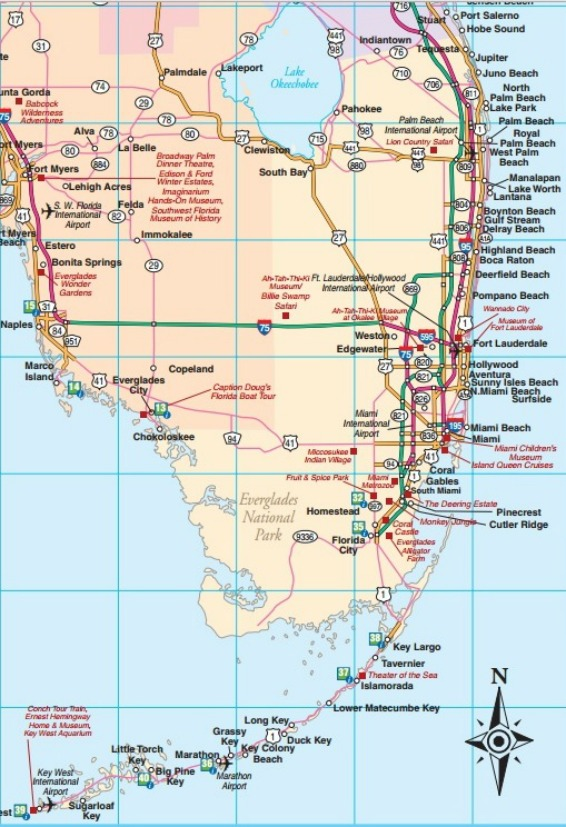 Map US-1 and SR-A1A Stuart to Miami