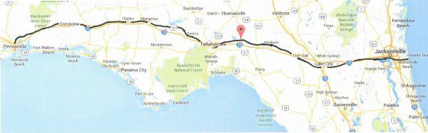 US90 Pensacola to Jacksonville Beach