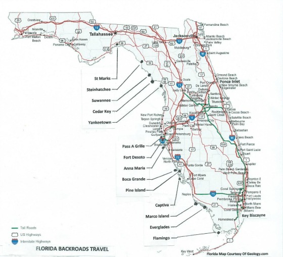 Florida map showing end of road towns from Florida Backroads Travel